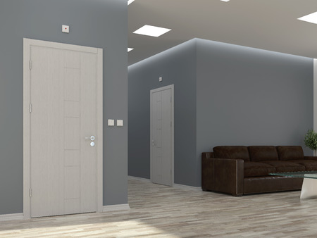 wall paint: Interior scene with corridor and doors Stock Photo