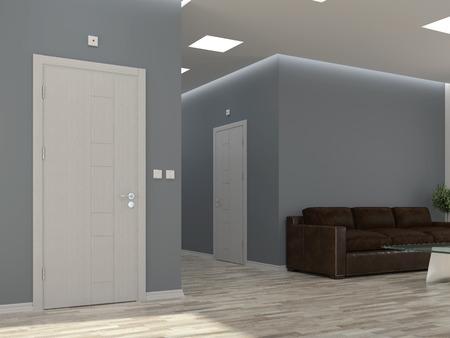 Interior scene with corridor and doors Imagens