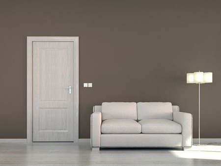 livingroom minimal: Empty interior scene with sofa and door