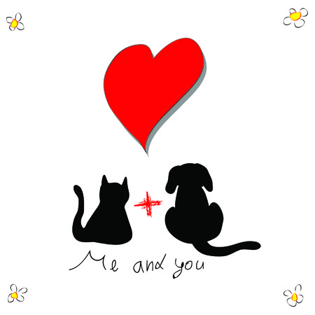 Cat with dog for love greeting card Vector