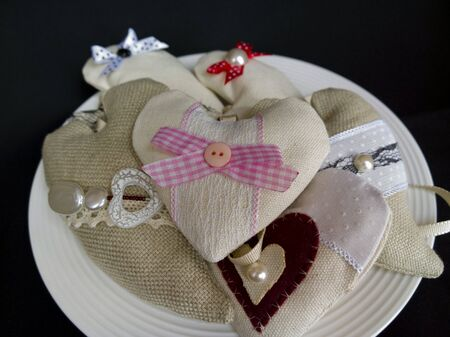 Hand made romantic hearts from fabric