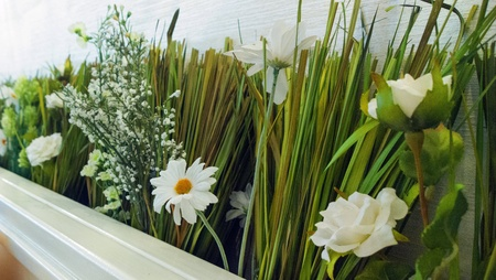 modern: Interior decoration with grass and flowers