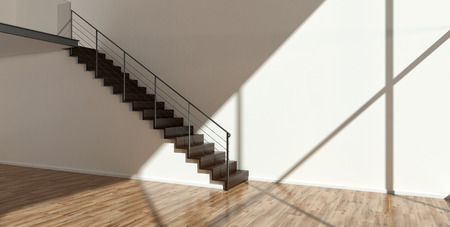 stairs interior: Empty interior with modern stairs Stock Photo