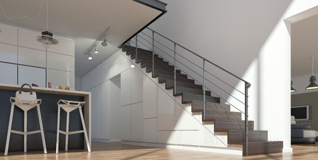 metal wall: Stairs from wood and metal