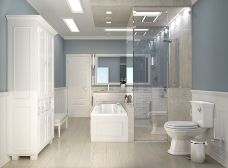 bathroom: Classic modern bathroom with wc Stock Photo