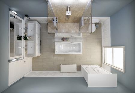 piso piedra: En planta superior vista piso del baño Foto de archivo