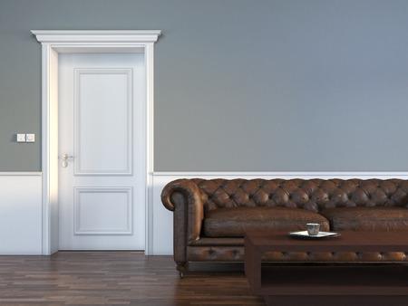 puerta: Puerta con un sofá en la sala vacía
