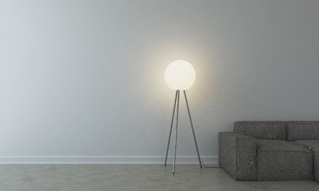 fabrick: Sofa with lamp in empty room