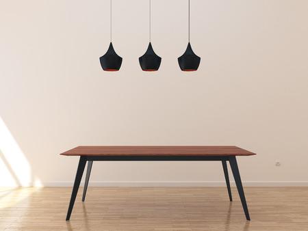 Sitio vacío con la mesa de la cocina