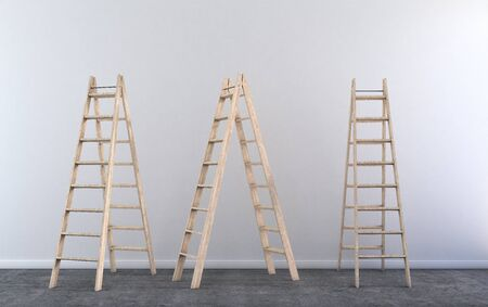 step ladder: Wood step ladder in empty room under construction Stock Photo