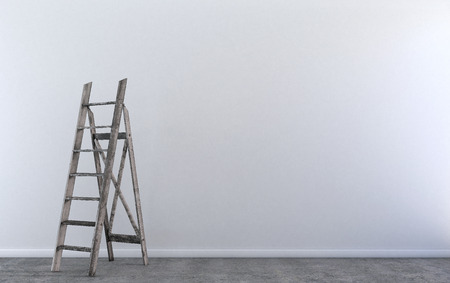 empty room: Wood step ladder in empty room under construction Stock Photo