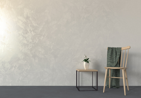 vase plaster: Empty room table and chair composition interior scene