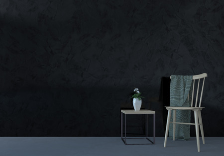 vase plaster: Chair and table composition in dark room