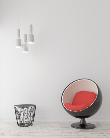 modern chair: Modern chair with lamp and table in empty room Stock Photo