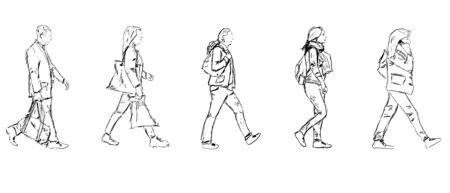 woman walk: Sketch walking people
