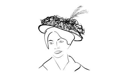 Silhouette of a woman with a hat Illusztráció