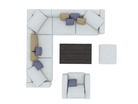 Modern sofa with chair and table top view paths selection