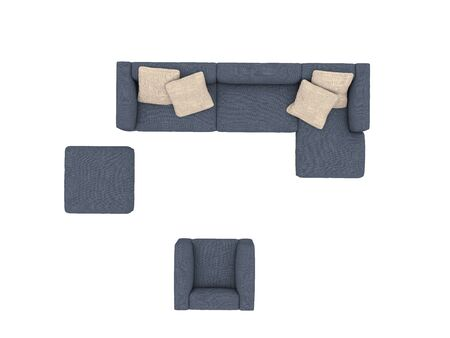 Modern blue sofa with chair top view paths selection Stock fotó