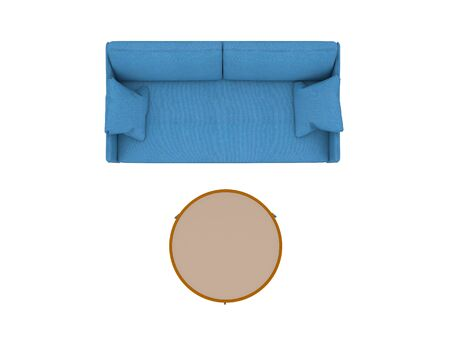 Blue sofa with table top view path selection Stock fotó