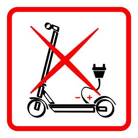 Forbidden for electrical scooters vector symbol Illusztráció