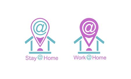 Stay at home and work from home vector illustration