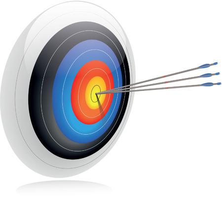 bullseye: Bulls-eye Drei Pfeile in der Mitte eines Bogenschie�en Ziel zum Erfolg und Genauigkeit zu vermitteln Um-Ziel sein