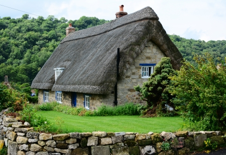 thatched cottage: Old thatched cottage in a Yorkshire village, England