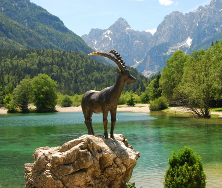Chamois goat statue at Jasna Lake in Slovenia
