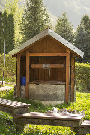 water well: Old fashioned water well in eastern Slovakia  Stock Photo