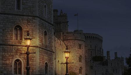 Night scene of the beautiful Windsor castle in England