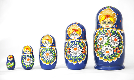 Russian dolls matrioska on a white background  Stock Photo