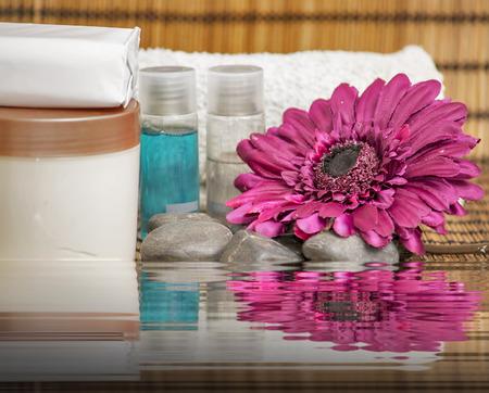 steine im wasser: Spa-Konzept mit Steinen, Wasser und Blumen.