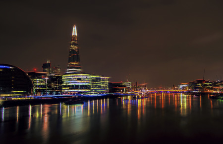 London and the river Thames at night.