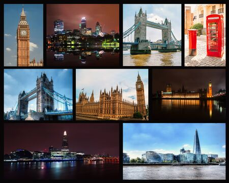 london tower bridge: Photo collage of travel photos of London. Stock Photo