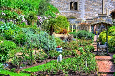 hdr: Colorful HDR image of a castle garden at spring time.