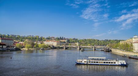 praha: Vltava river on a sunny day in Prague (Praha), Czech republic. Stock Photo