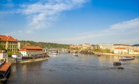 vltava: Vltava river in Prague on a sunny afternoon.