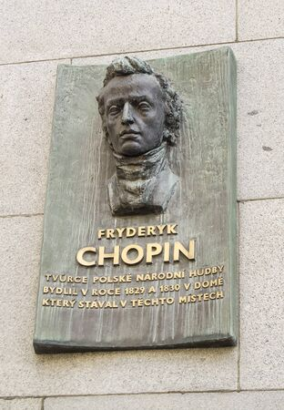 chopin heritage: Frederic Chopin memorial on a building in Prague.