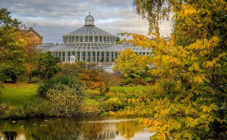 Botanical gardens with a lake during autumn in Copanhagen