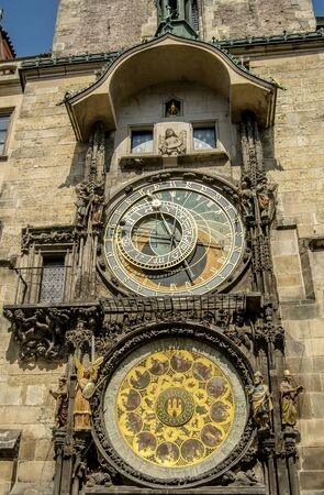 statue: The famous astronomical clock in Prague, Czech republic. Stock Photo