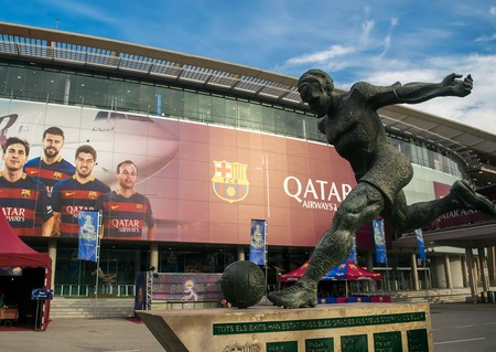 Barcelona, Spain - December 29, 2015. Camp Nou football stadium in Barcelona, Spain. Camp Nou is the home to FC Barcelona and the largest stadium by capacity in Spain.