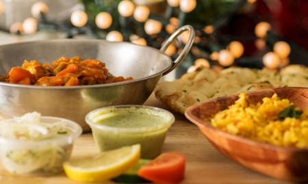 naan: Indian vegetarian meal with rice and naan bread. Stock Photo