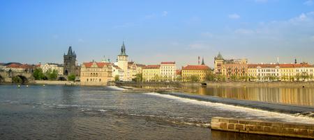 vltava: Landscape view of Prague and the Vltava river Stock Photo