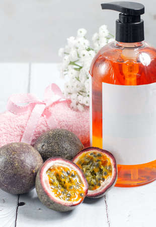 Passion fruit hand soap with copy space. Stock Photo