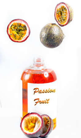 Open bottle of organic passion fruit shower gel Stock Photo