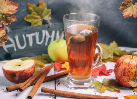 Apple and cinnamon tea at autumn time