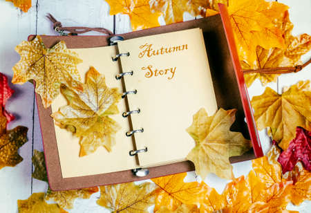 Autumn story concept. Notebook with autumn leaves. Stock Photo