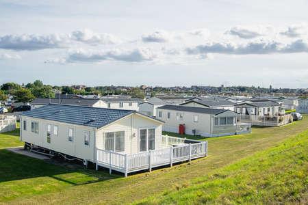 Caravan park with modern caravans in England.