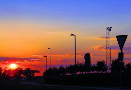 sillouette: Denmark airport sunrise