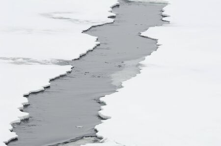 Opening ice crack